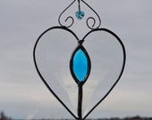 Beveled Heart with Turquoise Jewel Stained Glass  Suncatcher