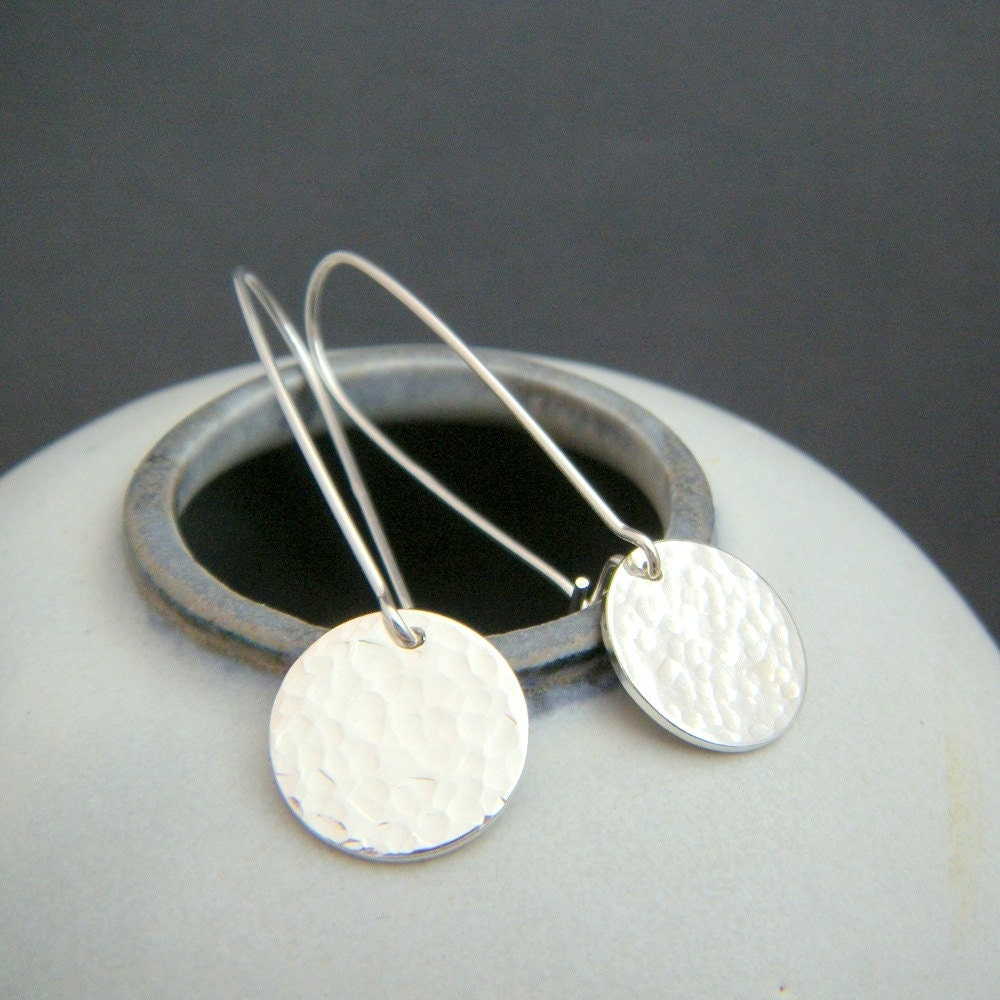 Disk Silvers: Silver Hammered Disc Earrings. Sterling Silver Circles. Small