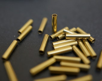 High Quality Vintage Raw Brass Tube Straight Connector Spacers - 10mm x 2.5mm Thick - 50 pcs