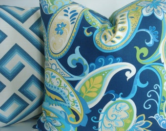 CARIBBEAN BLUE FLORAL and Solid - Both Sides-Decorative Designer Pillow Cover- Blues -Turquoise-Aqua -Greens- Yellow