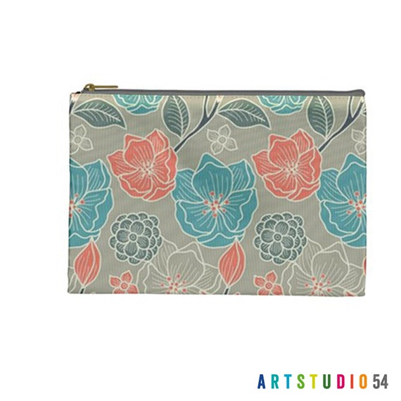 "Flower Peach Teal Grey White Pattern on a Pouch, Make Up, Cosmetic Case, Travel Bag Pencil - 9""X6"" -  Large -  Made by artstudio54"