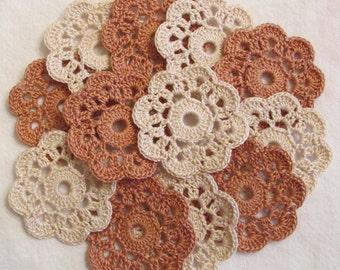 Flower Appliques, Mini Doilies  - Fall Colors, 12 Crochet Embellishments