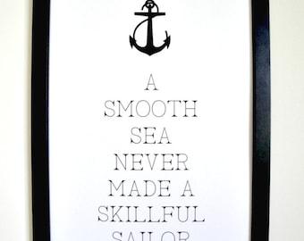 Smooth Seas - Framed Typograhy Anchor Print