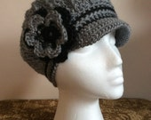 Classy Adult Gray Newsboy Cloche Hat Free Shipping Ready To Ship