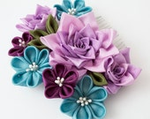 Rose Flowers Tsumami Kanzashi Silk Purple Japanese Maiko Turqoise and Mulberry