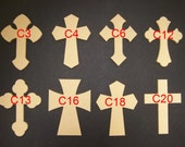 "10 2 1/2"" x 4"" 1/4"" Thick Unfinished Wooden Crosses, No Keyholes, Choose from 8 different styles, Ready to Paint, 020425-10"