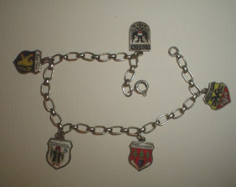 Silver bracelet charm German theme travel charms vintage enamel Munich Duisberg not sterling