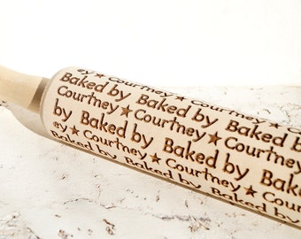 Custom engraved embossing rolling pin, Personalized wooden rolling pin, Cookies decorating roller, Laser engraved rolling pin