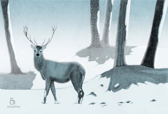 Winter Stag - A beautifu Stag in the woods Home Decor - Print 8 x 11.5