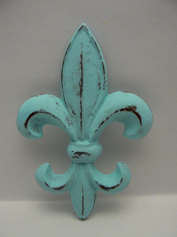 Fleur De Lis Fdl Cast Iron Painted Distressed Cottage Chic