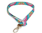 Fabric Lanyard ID badge holder  Turquoise Blue & Pink Medallion Flower - Great Gift for Office Workers, Nurses, Teachers, Students and more