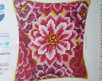 Dahlias Pillow Cover Needlepoint Kit from Vervaco - NEW