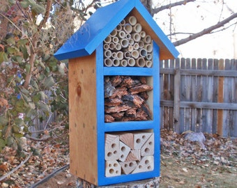 Handmade Beneficial Bug Box, Solitary Bee House, All Natural Insect Box, Insect Habitat, Persnickety Bug House, Bold Blue Garden Decor