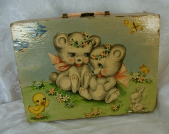 1950s Antique Shabby Chic Kitsch Dolly  Suitcase
