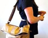 Vegan Leather Bag in Metallic Copper, Vegan Bag Foldover with Crossbody Bag Strap