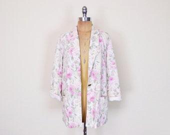 Vintage 80s 90s Pastel Pink Floral Blazer Jacket Floral Print Blazer Boyfriend Blazer Oversize Blazer Grunge Blazer Blogger Blazer S M L
