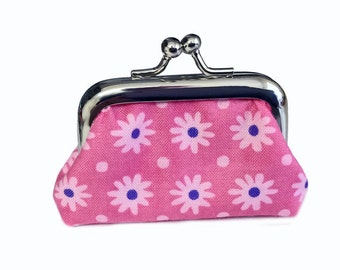 Spring Flowers In Pink - Tiny Kisslock Metal Frame Coin Purse