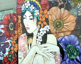 Flower Tattoo Art, Urban Photography, Boho Dorm Decor, San Francisco Graffiti Art, Street Art, Urban Art, Boho Wall Art,Asian Girl Art Print