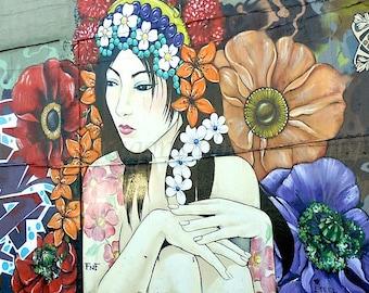 Flower Tattoo Art, Urban Photography, Boho Wall Decor, San Francisco Graffiti Art, Street Art, Urban Art, Boho Wall Art,Asian Girl Art Print