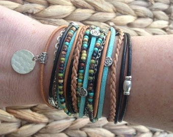 Boho Leather Wrap Bracelet - Multistand Cuff - Modern Bohemian Bracelet - Turquoise & Brown - Choose ONE Charm - Customizable - Best Seller
