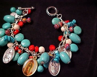 REDUCED~ Our LADY of GUADALUPE Turquoise & Red Coral Religious Bracelet