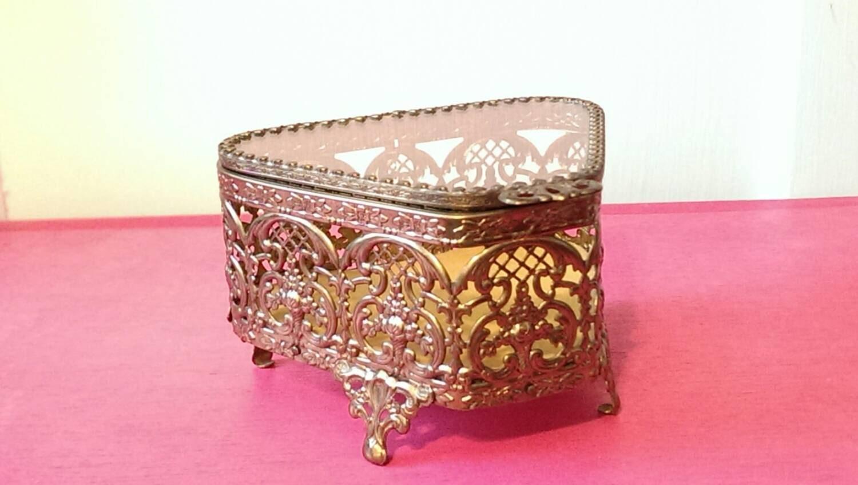 Vintage Jewelry Box Gilt Glass Triangle Display Case Brass Metal Yellow Velvet