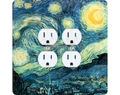 Vincent Van Gogh Starry Night Painting Square Double Duplex Outlet Plate Cover