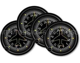 Direction Heading Indicator Aviation Coasters - Set of 4