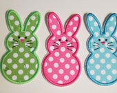 Easter Bunny Trio - Iron On or Sew On Embroidered Custom Made Applique  READY TO SHIP in 3-7 Business Days