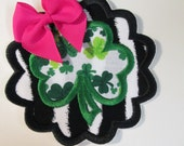 Shamrock Scallop with Bow - Iron On or Sew On Embroidered Applique  READY TO SHIP in 3-7 Business Days