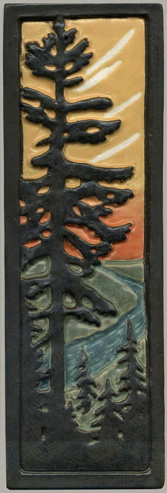 Craftsman style art tile solitary fir pine tree with river for Mission style prints
