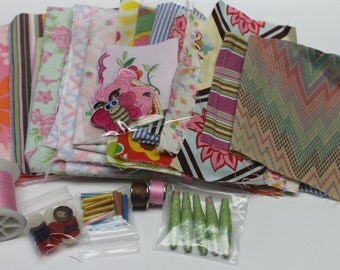 pink fun fabric crafting pack,thread,button,ceramic beads,,paper beads,destash fabric,surprise bag,sewing,crafting,scrapbooking,