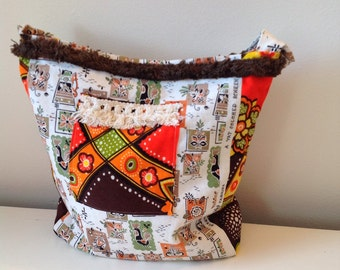 Vintage Kitsch Fabric Tote Handbag SALE