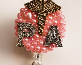 Lovely Physican Assistant Initials And Caduceus Symbol ID Badge Reel - RN ID Badge Holder - Zipperedheart