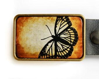 Butterfly Belt Buckle Monarch Butterfly Orange Yellow Brass