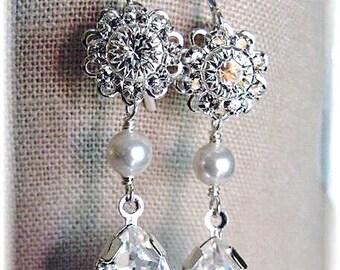 New Swarovski Floret/White Pearl Crystal Silverplate Filigree Teardrop Pendant Earrings