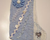 Baby Blue Crazy Quilted Mini Stocking Ornament
