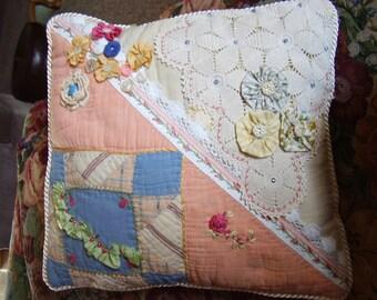 Pastel Crazy Quilt Pillow