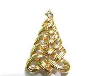 Avon Vintage Gold tone Christmas Tree Pin with Rhinestone