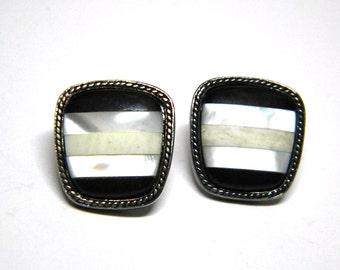 Monet Mother of Pearl MOP Vintage Earrings