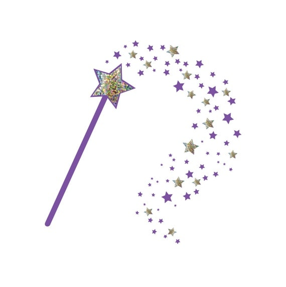fairy godmother wand wall decal sparkle gold or silver. Black Bedroom Furniture Sets. Home Design Ideas