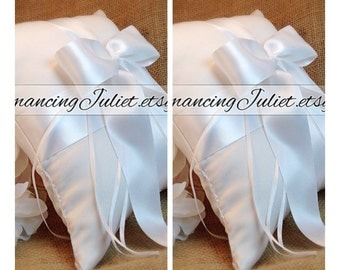 Romantic Satin Ring Bearer Pillow...You Choose the Colors...SET OF 2...shown in ivory/white