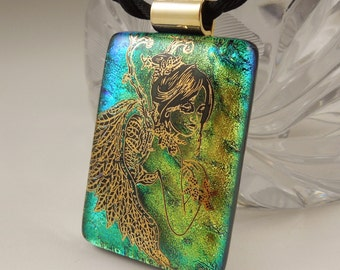 Fused Glass Angel Pedant -Fairy Princess - Dichroic Fused Glass Pendant - Fused Glass - Image Pendant - Dichroic Glass X8581