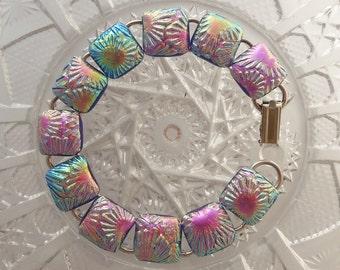 Dichroic Fused Glass Bracelet - Pink Bracelet - Fused Glass - Dichroic Glass - Charm Bracelet - Glass Jewelry - Bangle X3225