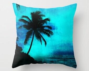 Tropical silhouette pillow, palm tree pillow, tropical decor, turquoise pillow, silhouette tree pillow cover,island decor palm tree cushion