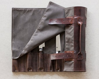 """Waxed Canvas & Hand Dyed Leather Chef's Roll // """"waxed knife roll"""" by fullgive in oak and bison"""