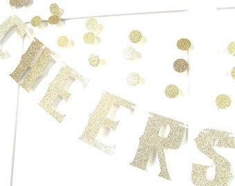 CHEERS BITCHES Banner, Bachelorette Party Banner, Bachelorette Party Decor, Gold Party Banner, Bridal Shower Banner, Bridal Shower Decor