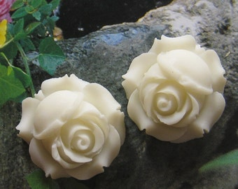 26mm - Sweet white rose cabochon - 4 pcs - (CA818-C1)