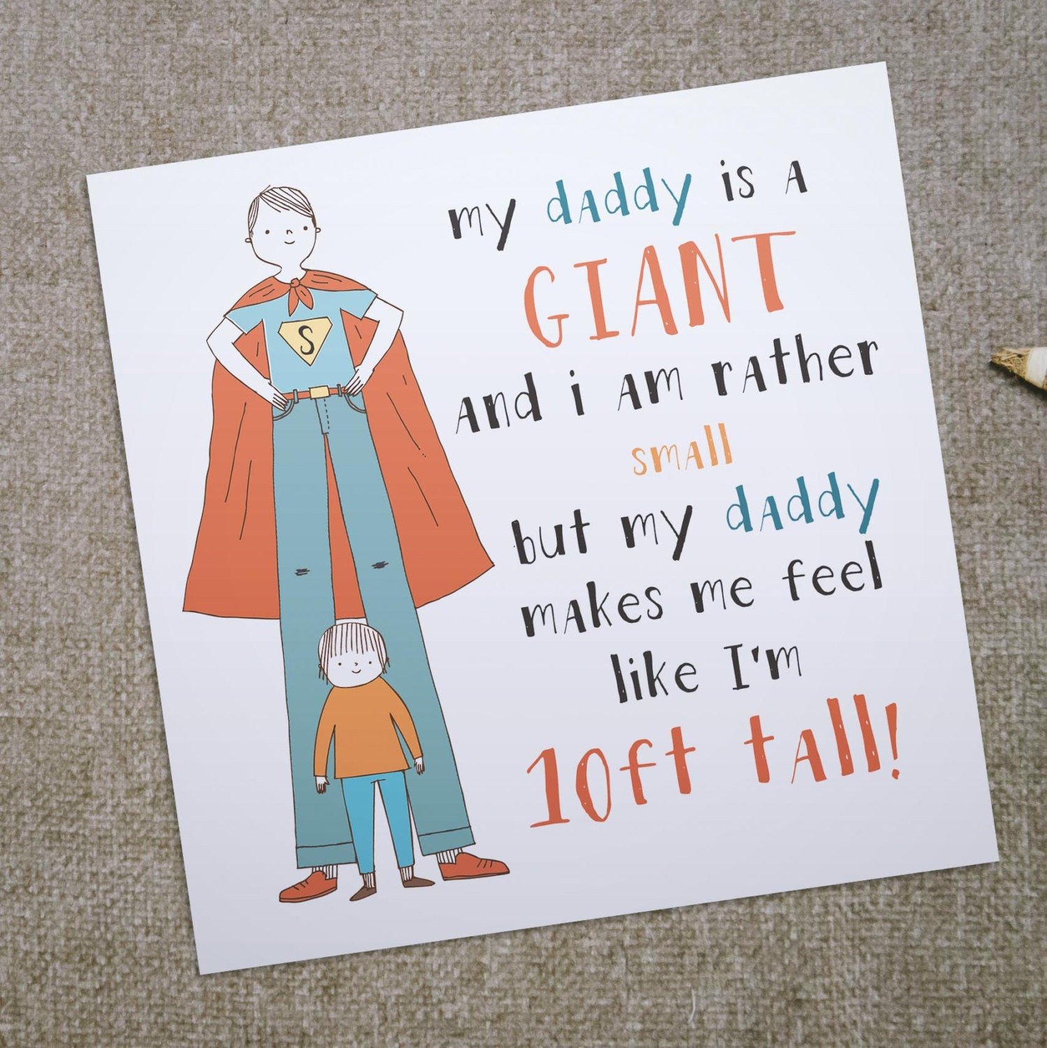 My Daddy Is A Giant Greeting Card For Dad Ideal Birthday