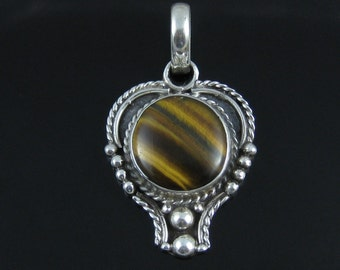 Pendant, Sterling Silver, Vintage, Circular Stone, Brown Tigers Eye